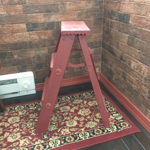 Vintage Painted Wood Step Ladder - Step Stool For Sale - Image 5 of 11