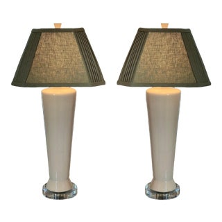 1960's Mid-Century Modern White Pottery Table Lamps W Custom Made Linen Shades - a Pair For Sale