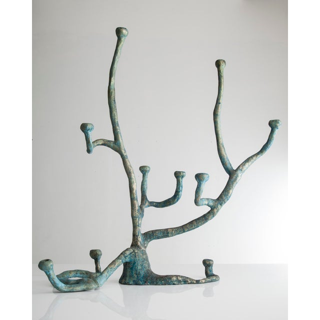 Metal Extra large Elephant Skin candelabra in cast bronze with blue patina For Sale - Image 7 of 7