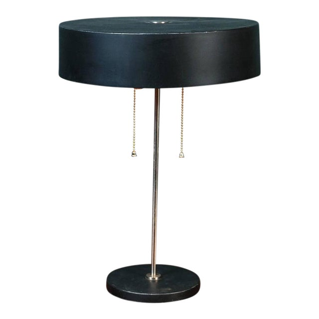 Black Mid-Century Modern Table Lamp With Round Metal Shade, Circa 1960 For Sale