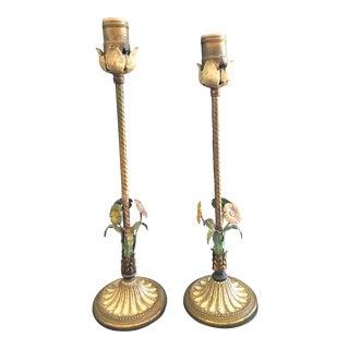 Vintage Tole Candlestick Lamps - A Pair