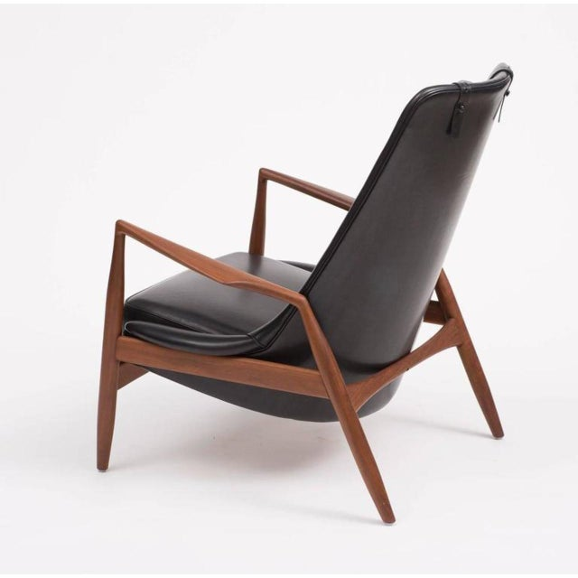 Ib Kofod-Larsen High Back Seal Chair in Teak and Black Leather for OPE, 1960s - Image 3 of 10