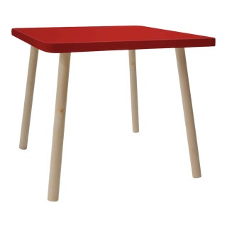"Tippy Toe Small Square 23.5"" Kids Table in Maple With Red Finish Accent For Sale"