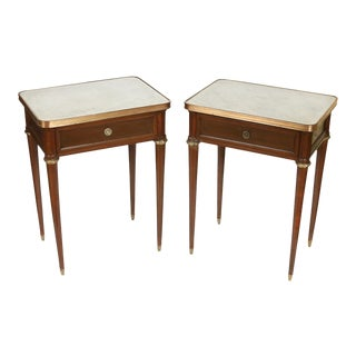 Mahogany Marble Top Nightstands With Brass Fittings - a Pair For Sale