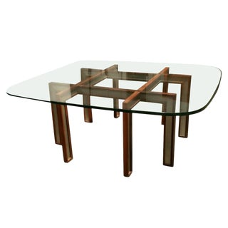 Rosewood and Brushed Steel Cocktail Table by Henning Korch For Sale