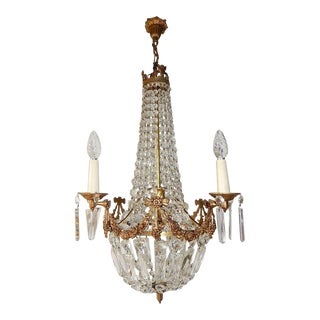 French Empire Bronze Crystal Bows Chandelier For Sale