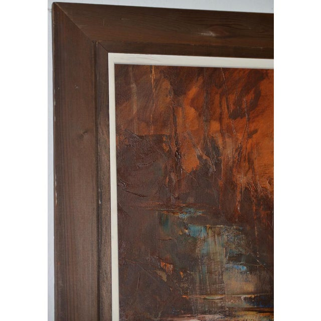 """1960s Don Clausen """"Warm Winter Sky"""" Abstract Landscape Oil Painting C.1963 For Sale - Image 5 of 11"""