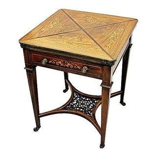 Inlaid Rosewood Napkin Game Table For Sale