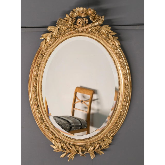Antique French Louis XVI Style Oval Mirror circa 1890 - Image 2 of 8