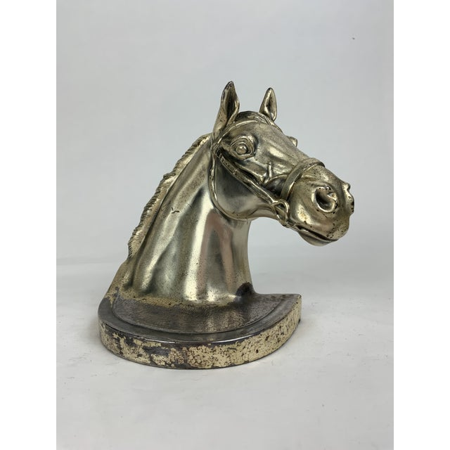 Silver Horse Head Bookends - a Pair For Sale - Image 4 of 13