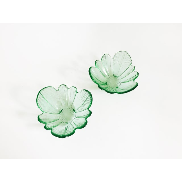 A lovely pair of vintage bowls formed in pale green colored glass. Each is in the shape of a flower. Perfect for keep...
