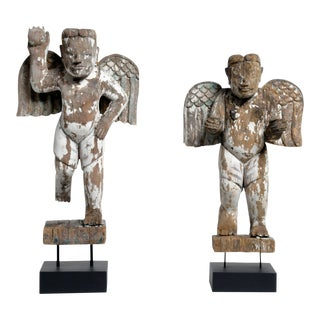 Carved Teak Wood Cupids For Sale
