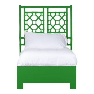 Lattice Back Bed Twin - Bright Green For Sale