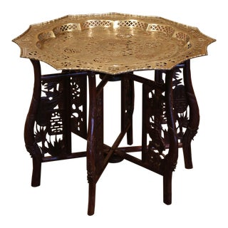 Midcentury Chinese Carved Six-Leg Folding Table Base With Engraved Brass Top For Sale