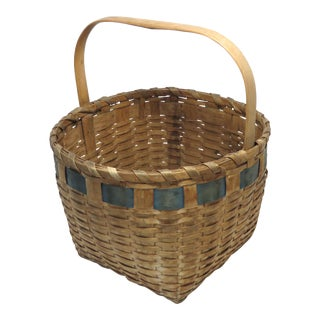 Antique Rustic American Primitive Hand Woven Basket For Sale
