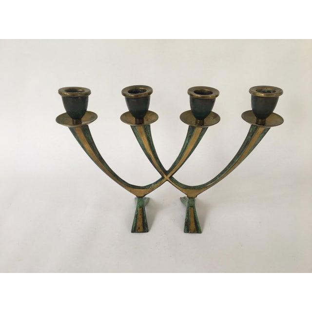 Vintage Israeli Brass Candelabra For Sale - Image 4 of 8