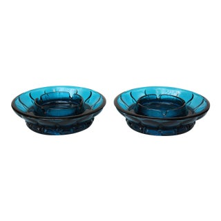 Mid-Century Modern Turquoise Glass Ashtrays - A Pair