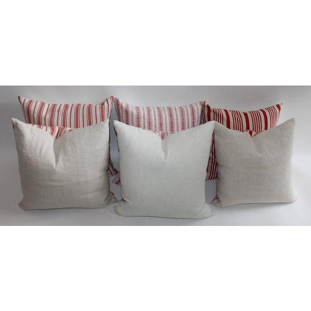 19th Century Red Ticking Pillows, Pair - Image 8 of 8