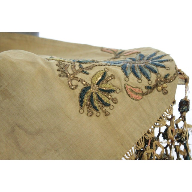 Anglo-Indian Antique Silk Scarf Metallic Embroidered Ottoman Runner Textile For Sale - Image 3 of 9