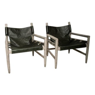 Mid-Century Modern Pair of Safari Lounge Chairs For Sale