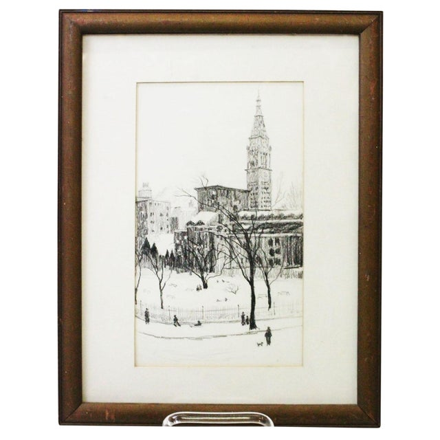 1970s Vintage Gramercy Park NYC Etching Print For Sale