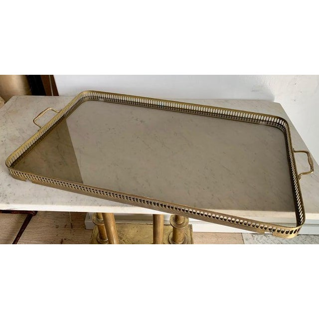 Italian Glass Tray Table With Brass Lion Detailing For Sale - Image 9 of 10