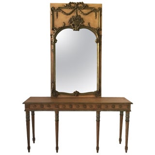 1950s Louis XVI Mirror and Console Made in Italy For Sale