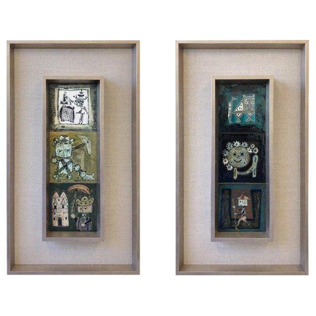 Pair of Italian Studio Ceramic Tiles by Bruno Capacci For Sale