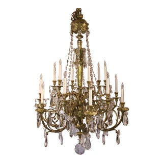 Antique Napoleon III Fine Crystal and Ormolu 18 Light Chandelier. For Sale