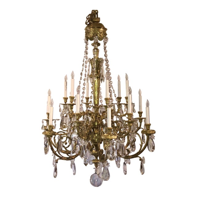 Antique Napoleon III Fine Crystal and Ormolu 18 Light Chandelier. For Sale