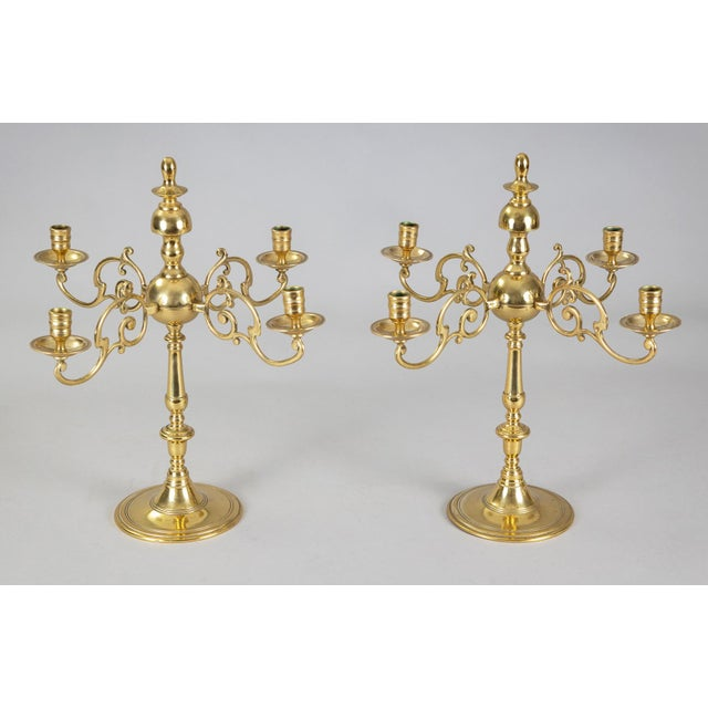 Brass Antique English Brass Candelabra, Pair For Sale - Image 8 of 8