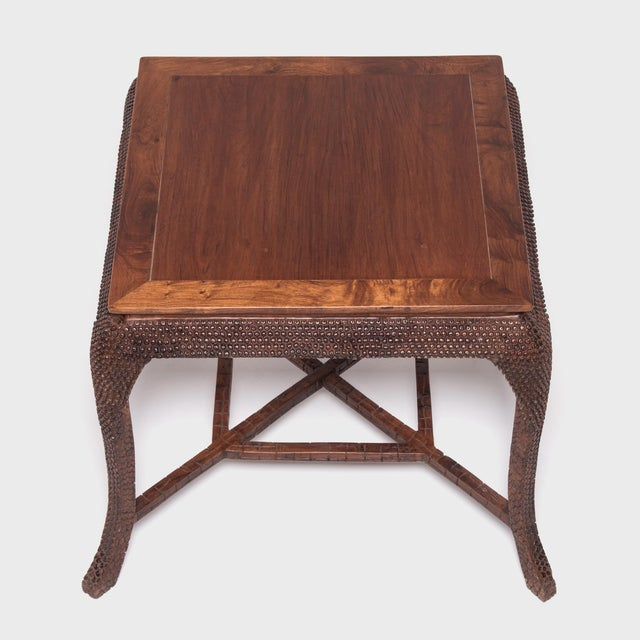 Asian Early 20th Century Dragon Scale Tea Table and Stools For Sale - Image 3 of 11
