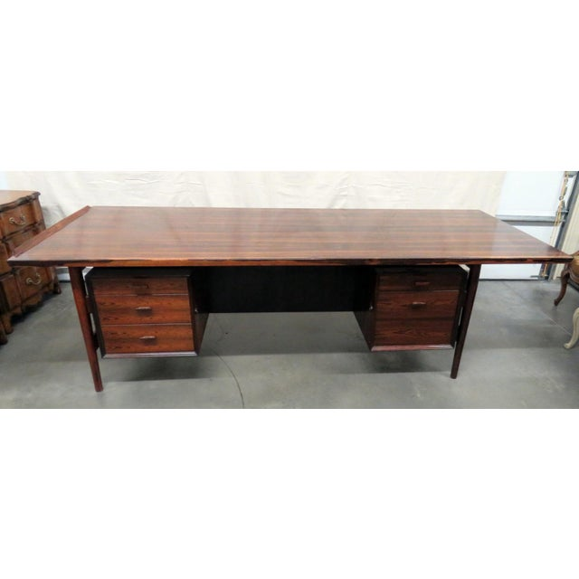 Large Mid-Century Modern Rosewood Desk For Sale - Image 11 of 11