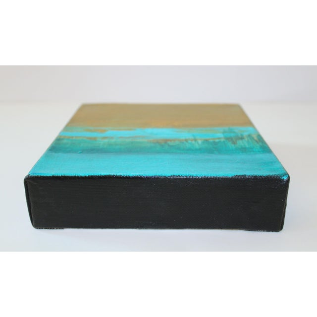 Abstract Art Original Turquoise Metallic Canvas Landscape Painting - Image 2 of 3