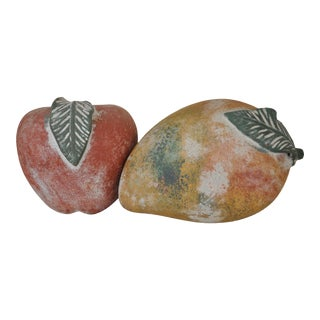 Pottery Apple and Mango - a Pair For Sale