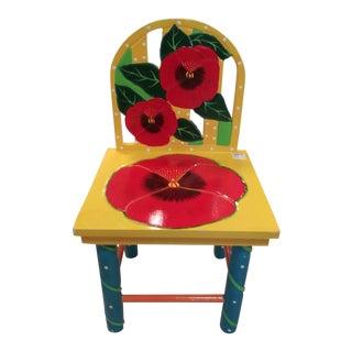 Vintage Mid Century Folk Art Red Posie Yellow Hand Painted Children's Garden Chair For Sale