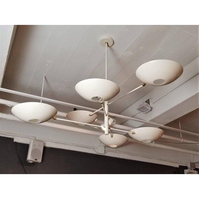 Large 'Counterbalance' Chandelier in White Enamel + Brass by Blueprint Lighting For Sale In New York - Image 6 of 11