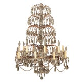 Image of Italian 18 Lite Crystal Tiered Chandelier For Sale