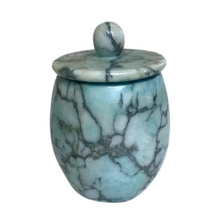 Vintage Italian Blue Marbled Alabaster Lidded Jar
