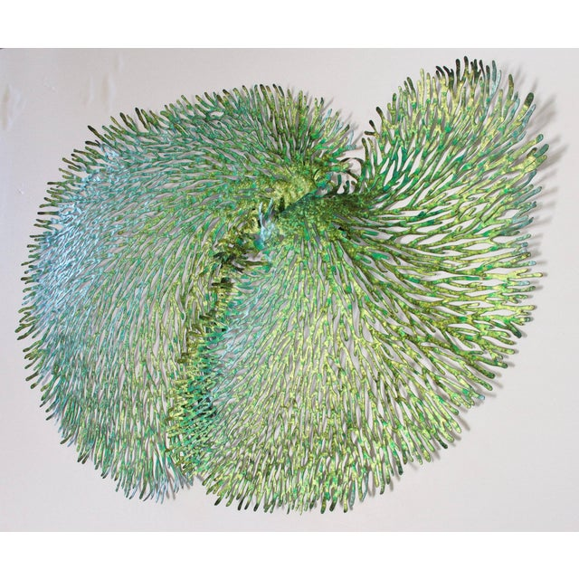 Green and gold iron coral wall sculpture designed by Fabio Bergomi for Fabio Ltd 1 in stock in Palm Springs currently ON...
