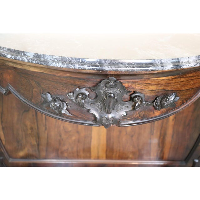 19th Century Italian Louis Philippe Rosewood Carved Marble-Top Console Table For Sale - Image 6 of 12