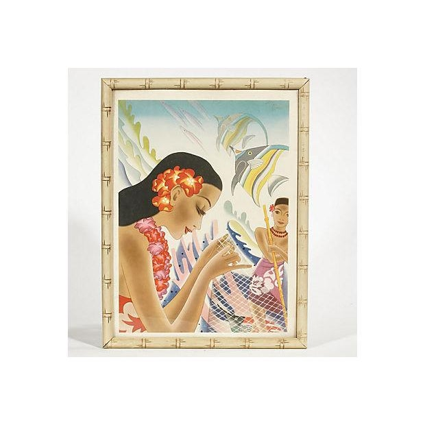 1940s colorful Hawaiian framed dinner menu from the S.S. Lurline. The frame is double-sided with the menu on the back....