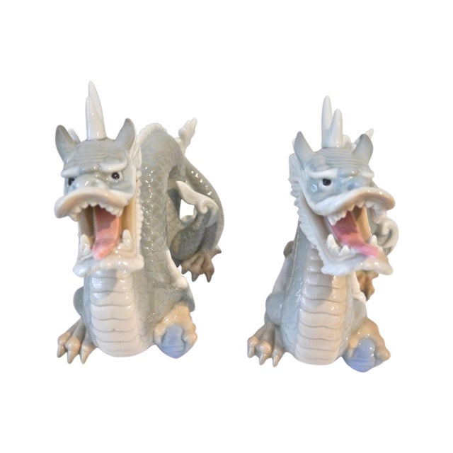 Vintage Japanese Porcelain Dragons - A Pair For Sale - Image 5 of 5
