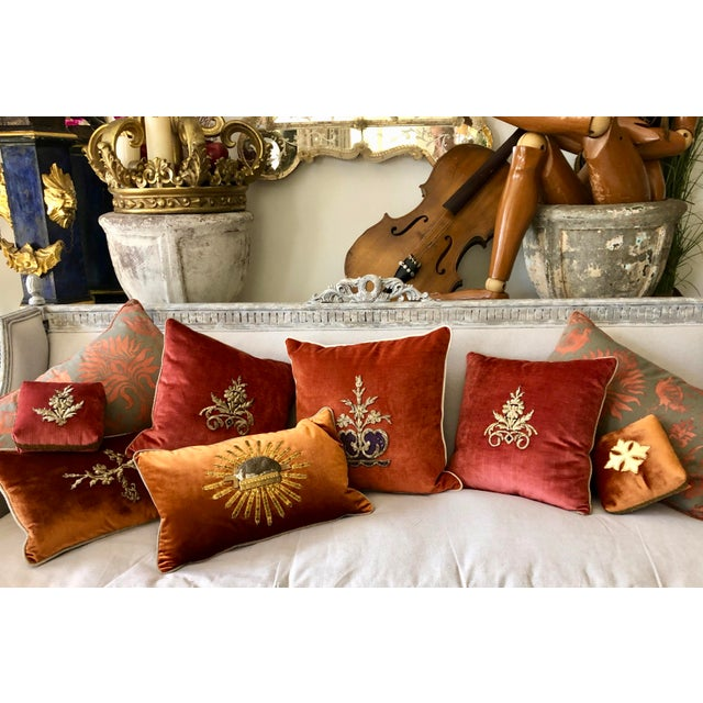 19th Century Metallic Silver Wire Floral Embroidery Brown Velvet Pillow For Sale - Image 12 of 13