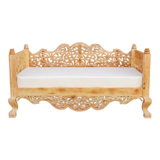 Bleached Teak Wood Anglo Indian Bench Sofa For Sale