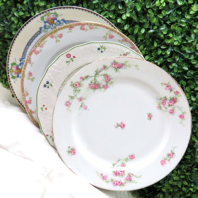 Green Vintage Mismatched Fine China Luncheon Plates - Set of 4 For Sale - Image 8 of 8