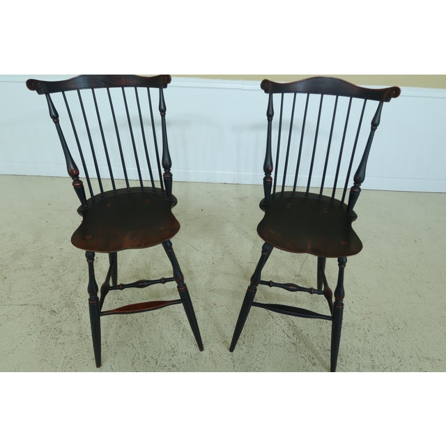 Windsor Style Fan Back Windsor Bar or Counter Chairs - a Pair For Sale - Image 11 of 12