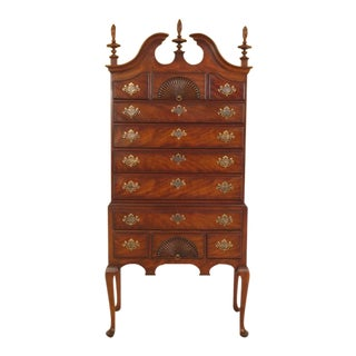 1980s Vintage Kindel New England Style Mahogany Highboy Chest For Sale