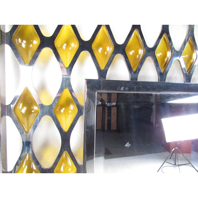 Mid 20th Century Large Mid-Century Chrome and Amber Blown Glass Mirror For Sale - Image 5 of 8