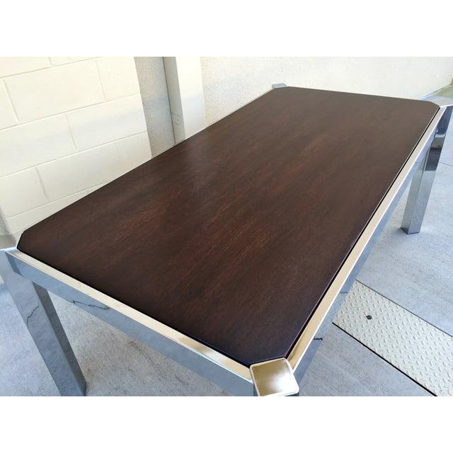 Milo Baughman DIA Wood & Chrome Dining Table - Image 5 of 8